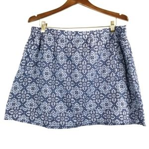 J.CREW mini skirt blue patterned sz xl